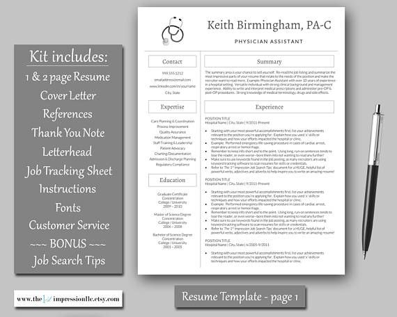 Medical Resume Template Instant Download Microsoft Word (PC - resume tracker
