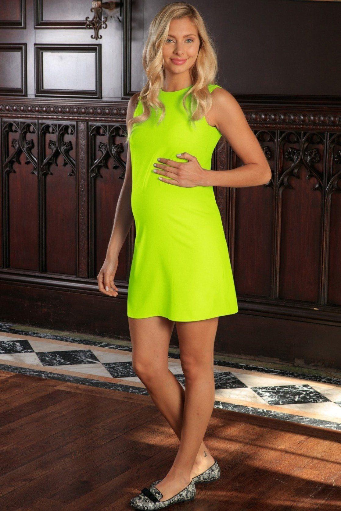Yellow dress for women  Neon Yellow Stretchy Sleeveless Summer Shift Dress  Women Maternity