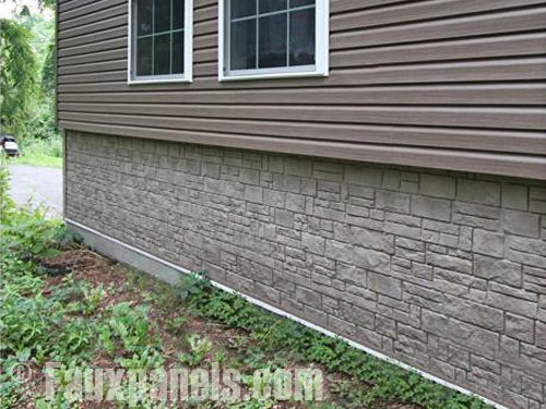 Stone on foundation wall under siding home siding Vinyl siding that looks like stone