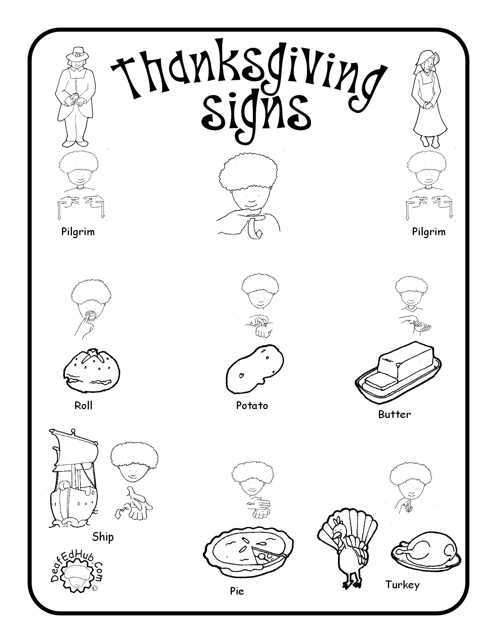 Worksheets Sign Language Worksheets thanksgiving sign language words project pinterest words