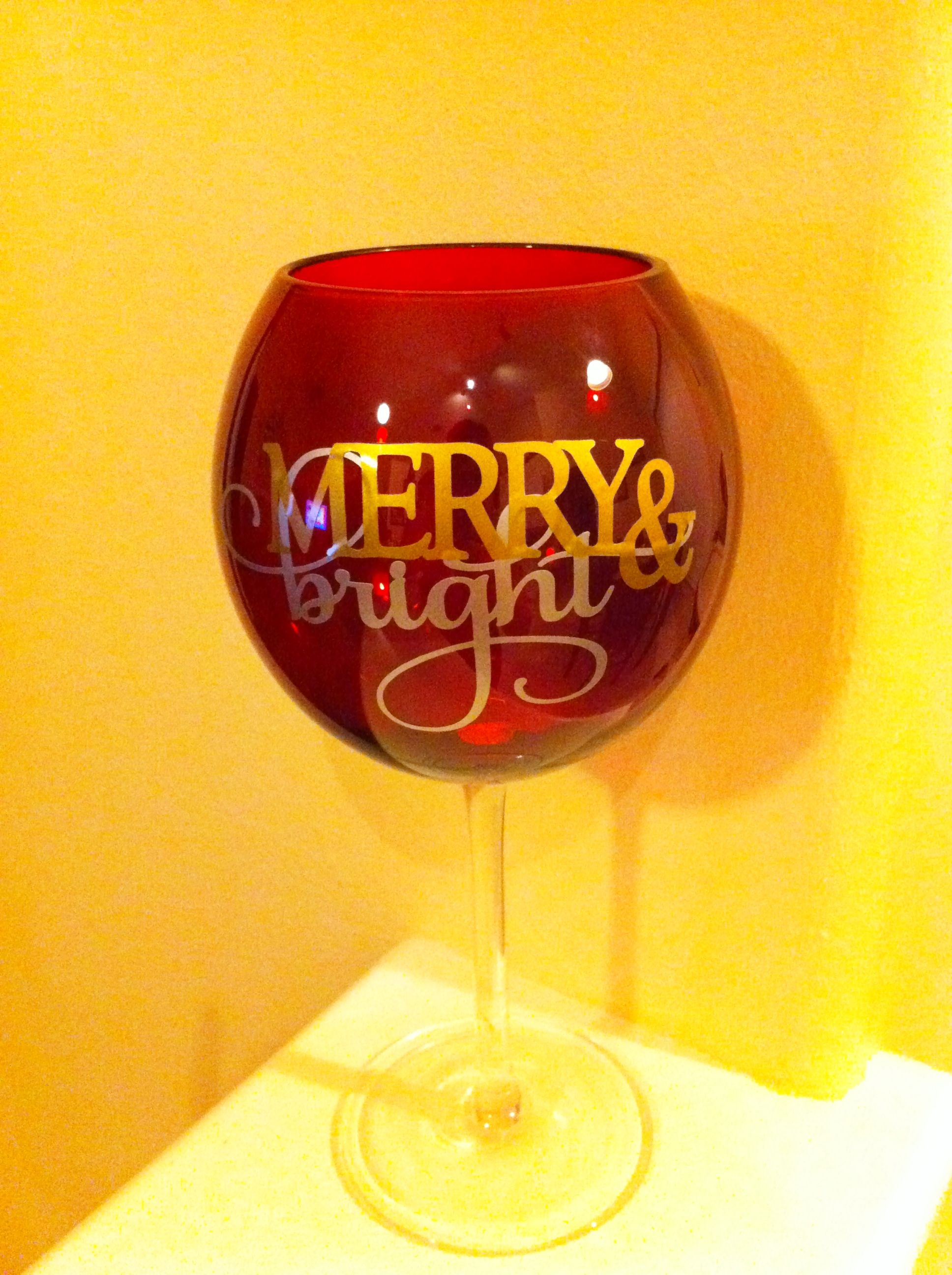 Merry Bright Wine Glass Painted Wine Glass Hand Painted Glasses Wine Glass
