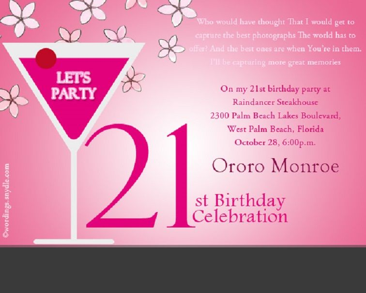 21st Birthday Invitations Wording Birthday Party