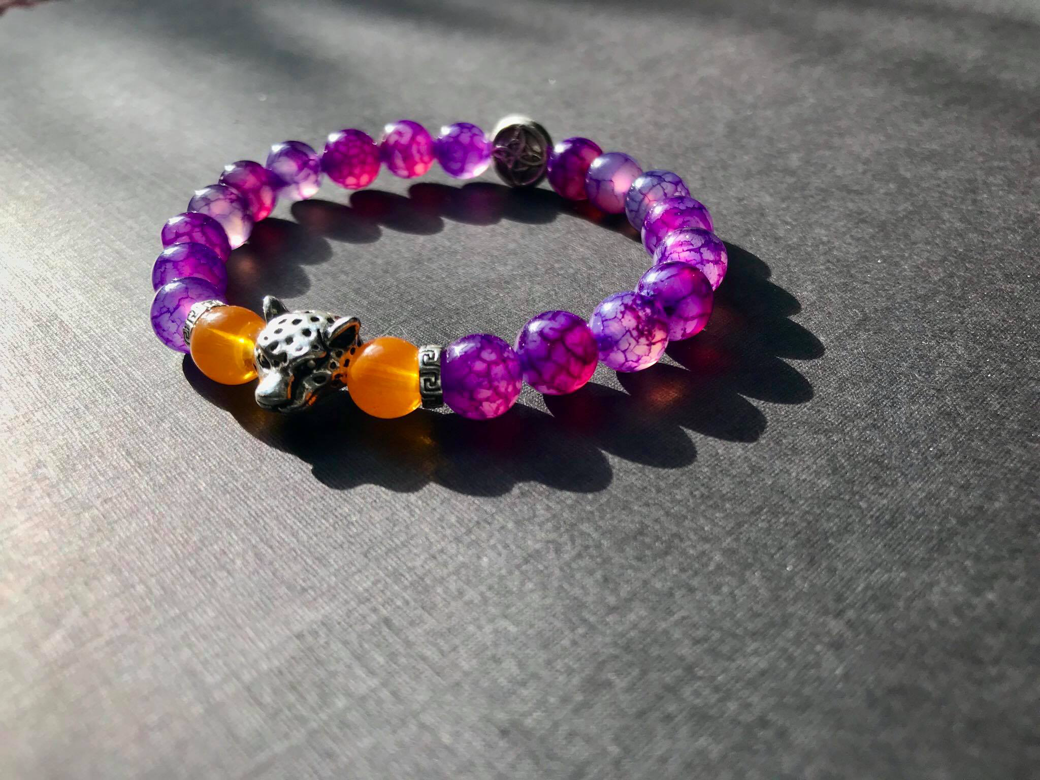 Unique handcrafted purple agate orange agate leopard head bead