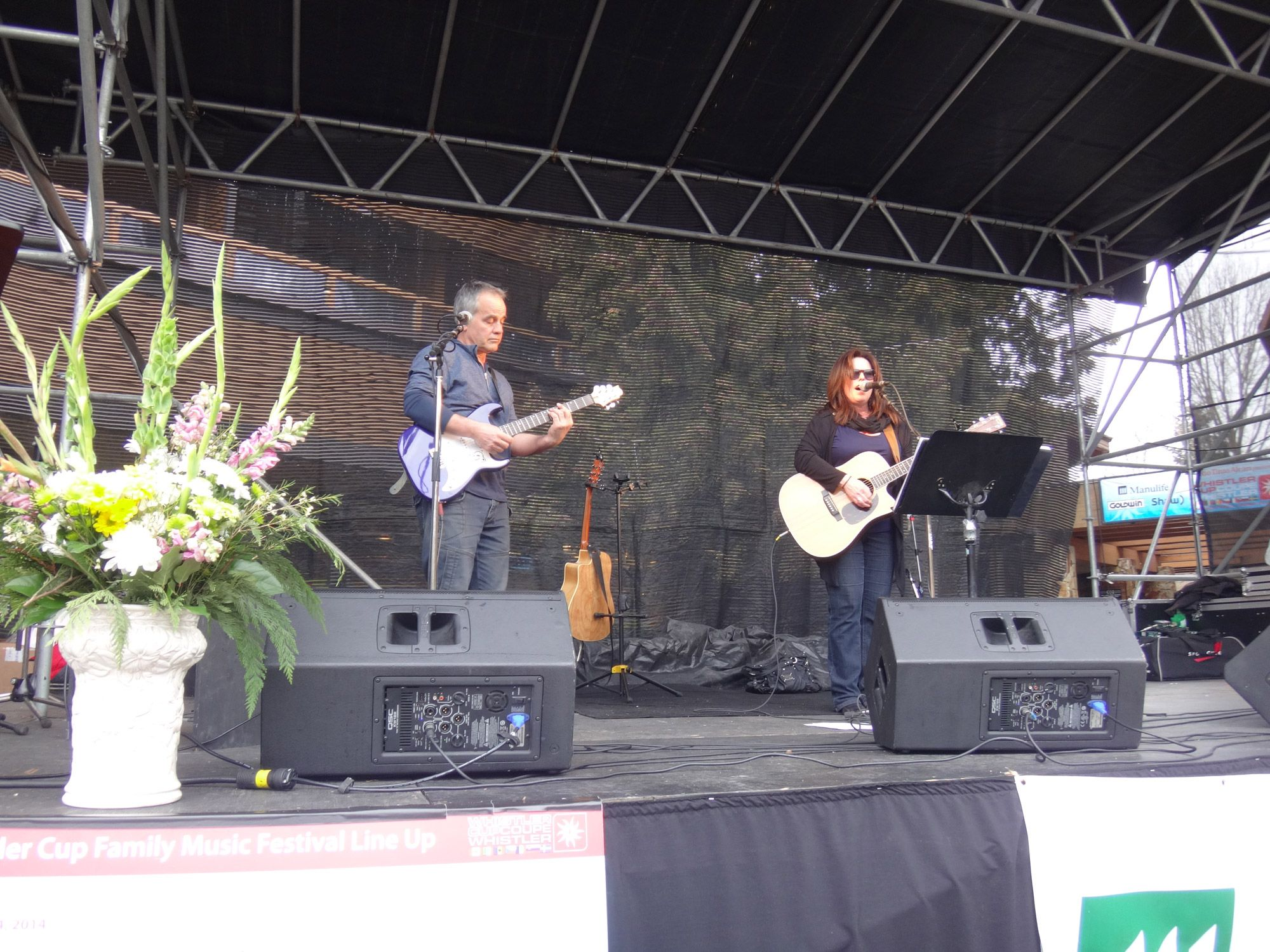 Live music in Whistler village today during the Winter season.