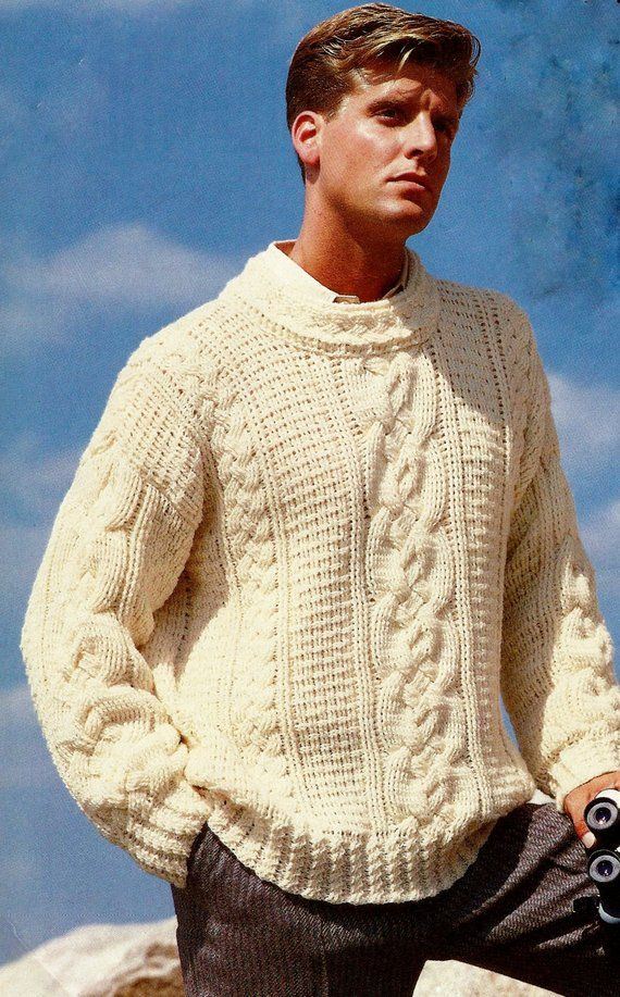 Finally A Crochet Version Of The Classic Fisherman Cable Sweater Using Mostly Front And Back Post S Vintage Crochet Pattern Fisherman Sweater Vintage Crochet