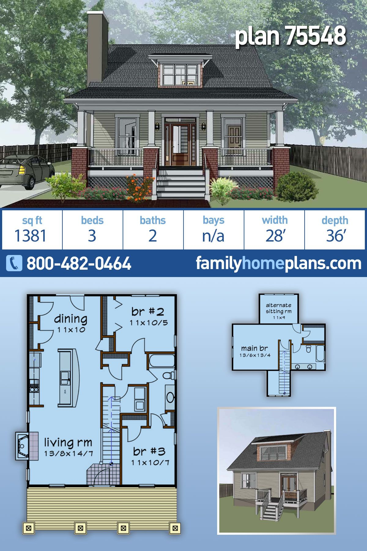 Cottage Style House Plan 75548 With 3 Bed 2 Bath Cottage Style House Plans Cottage Style Homes Narrow House Plans