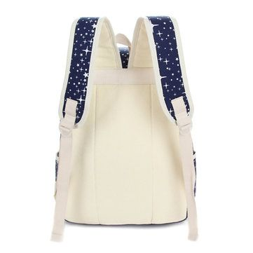 3Pcs Casual Women Canvas Backpack School Bags Star Print Crossbody Bags Clutch B - US$26.76