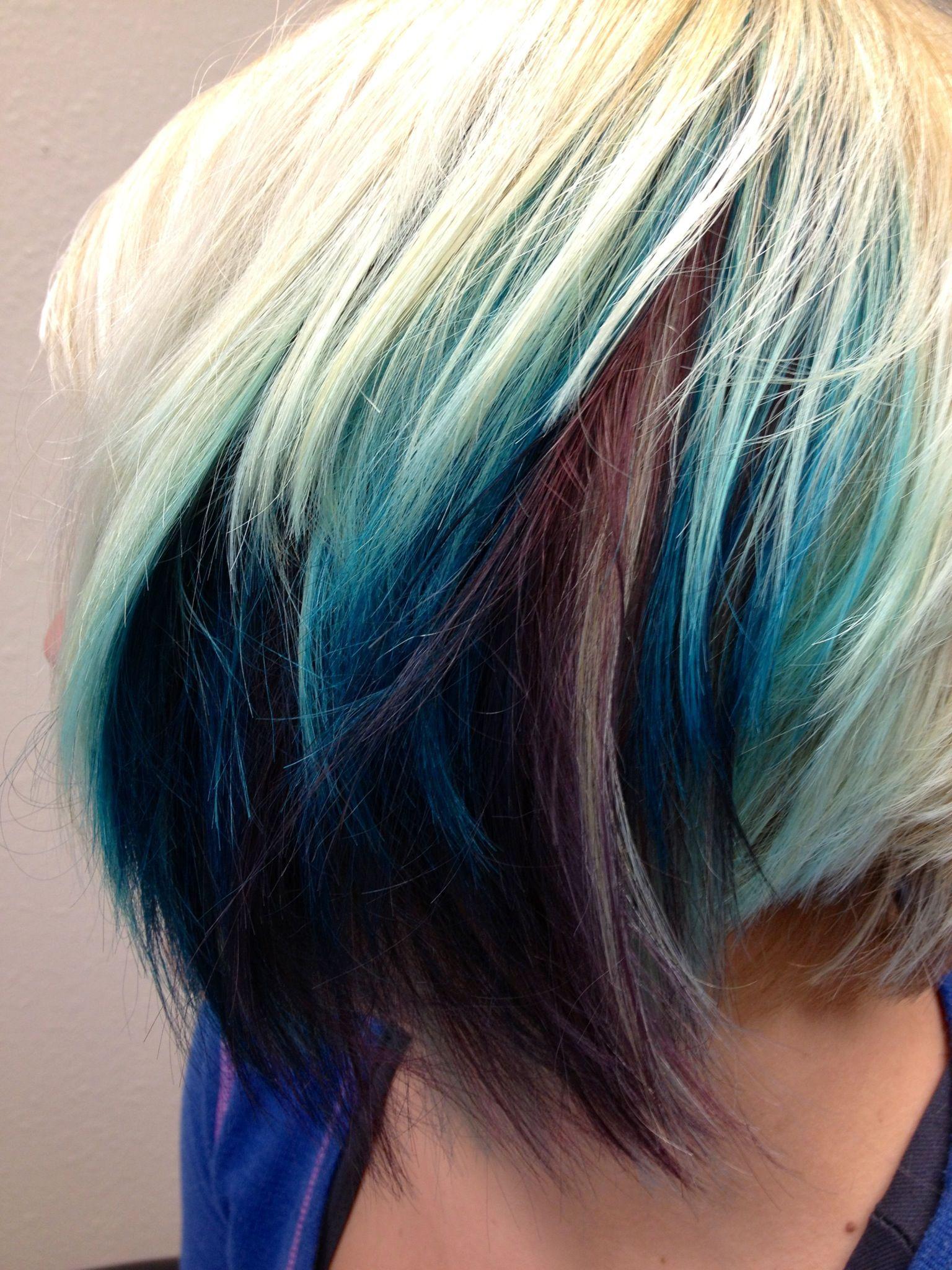 Peekaboo teal purple hair color peekaboos pinterest hair