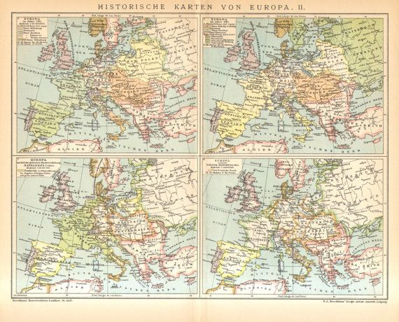 1895 Antique Historical Map Of Europe By Cabinetoftreasures
