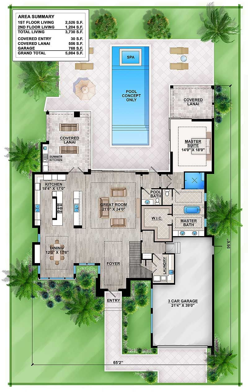 Plan 86039BW Master Down Modern House Plan with Outdoor