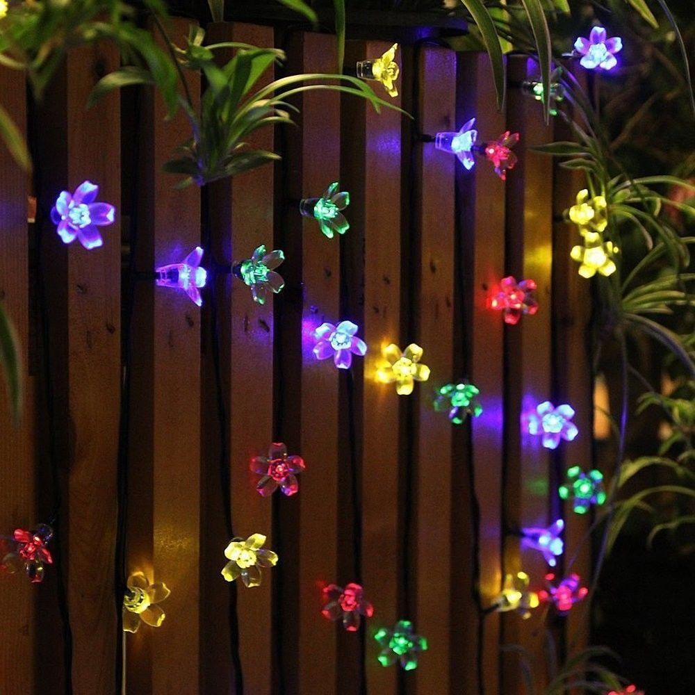 Garden LED Light Outdoor 22 Ft Flower Solar String Lamp Set Of 50 ...