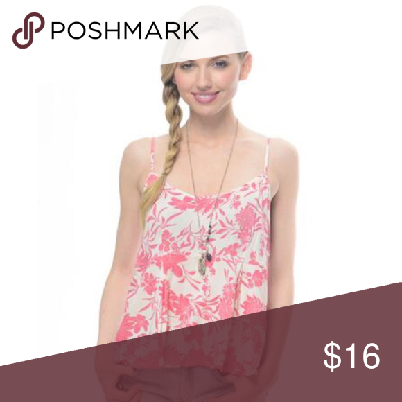 Floral Me Up Coral and White Tank Top This floral print babydoll cami in coral and white goes great with a cute pair of shorts and sandals!  Model is wearing a size Small 100% Rayon Tops Tank Tops