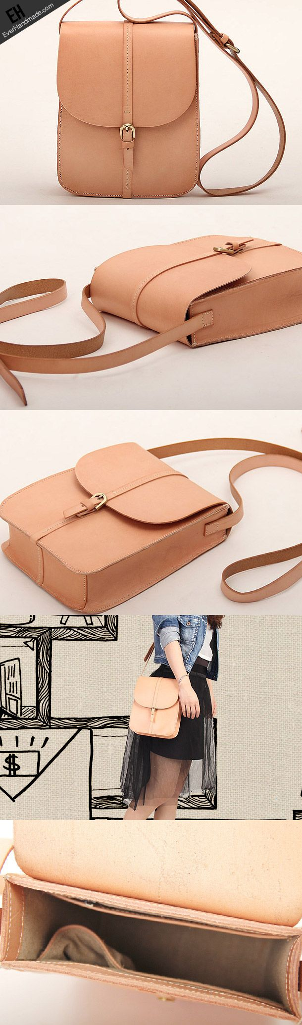 Handmade vintage leather saddle messenger crossbody Shoulder Bag for women