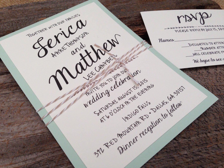 Mint Wedding Invitation Set,Shabby Chic Wedding Invitation,Rustic ...