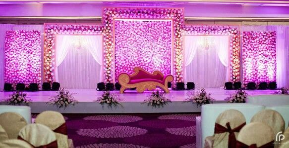 Reception 2 (Groom) Stage (Elegant Flowers) Wedding hall decorations Wedding reception