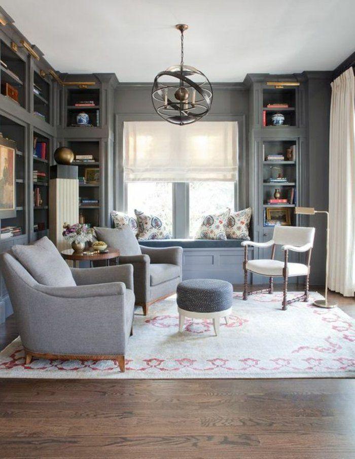 graue Sessel und weißer Stuhl Perlengrau für ihr Wohnzimmer - wohnzimmer orange grau