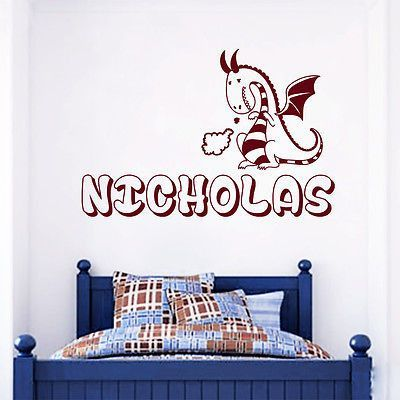 Custom Name Wall Decals Dragon Animal Decal Boy Nursery Bedroom - Custom vinyl wall decals dragon