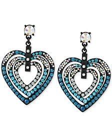 Betsey Johnson Black-Tone Blue Crystal Heart Drop Earrings