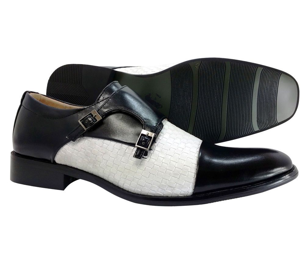 Men's Dress Shoes Majestic Black White Monk Strap Slip On Loafers Italian  Style #Majestic #