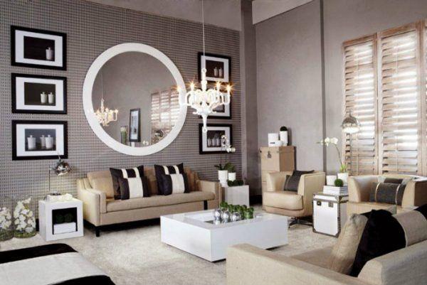 Moderner Moderner Wohnzimmer Spiegel Livingroom Wandfarben