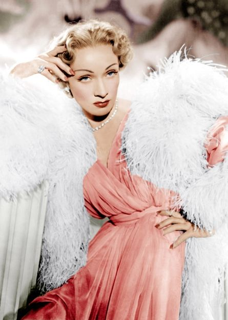 Marlene Dietrich Wearing An Outfit By Christian Dior On