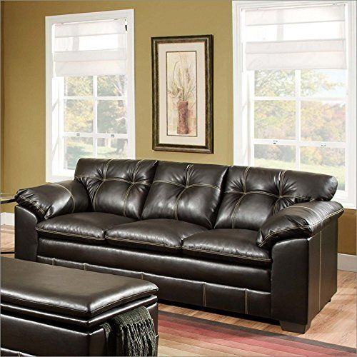 Simmons Upholstery 676903 Premier Chocolate Bonded Leather Sofa