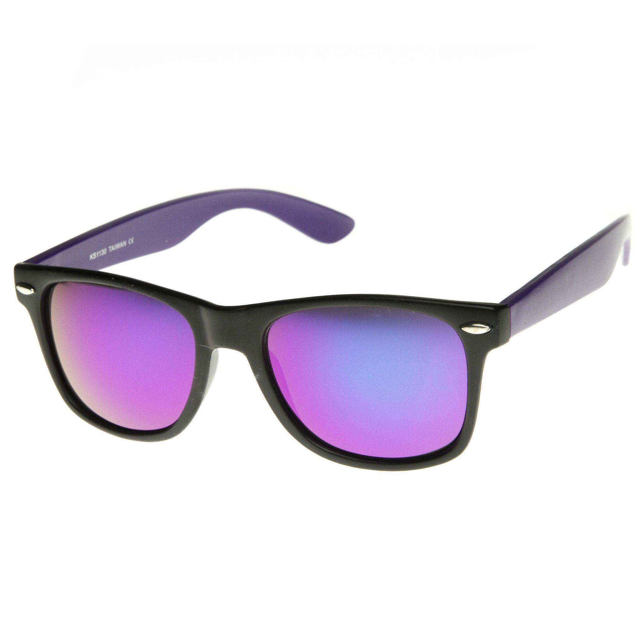 948442de18 Retro 1980 s Horned Rim Two-Tone Neon Revo Mirror Lens Sunglasses 8911