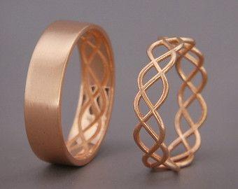 14K Rose Gold Celtic Wedding Rings Set