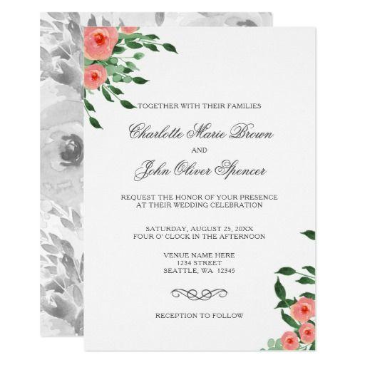 Simple Peach Flowers Wedding invitations