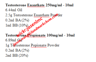 Injectable Steroid Recipes Testosterone Enanthate 250mg/ml