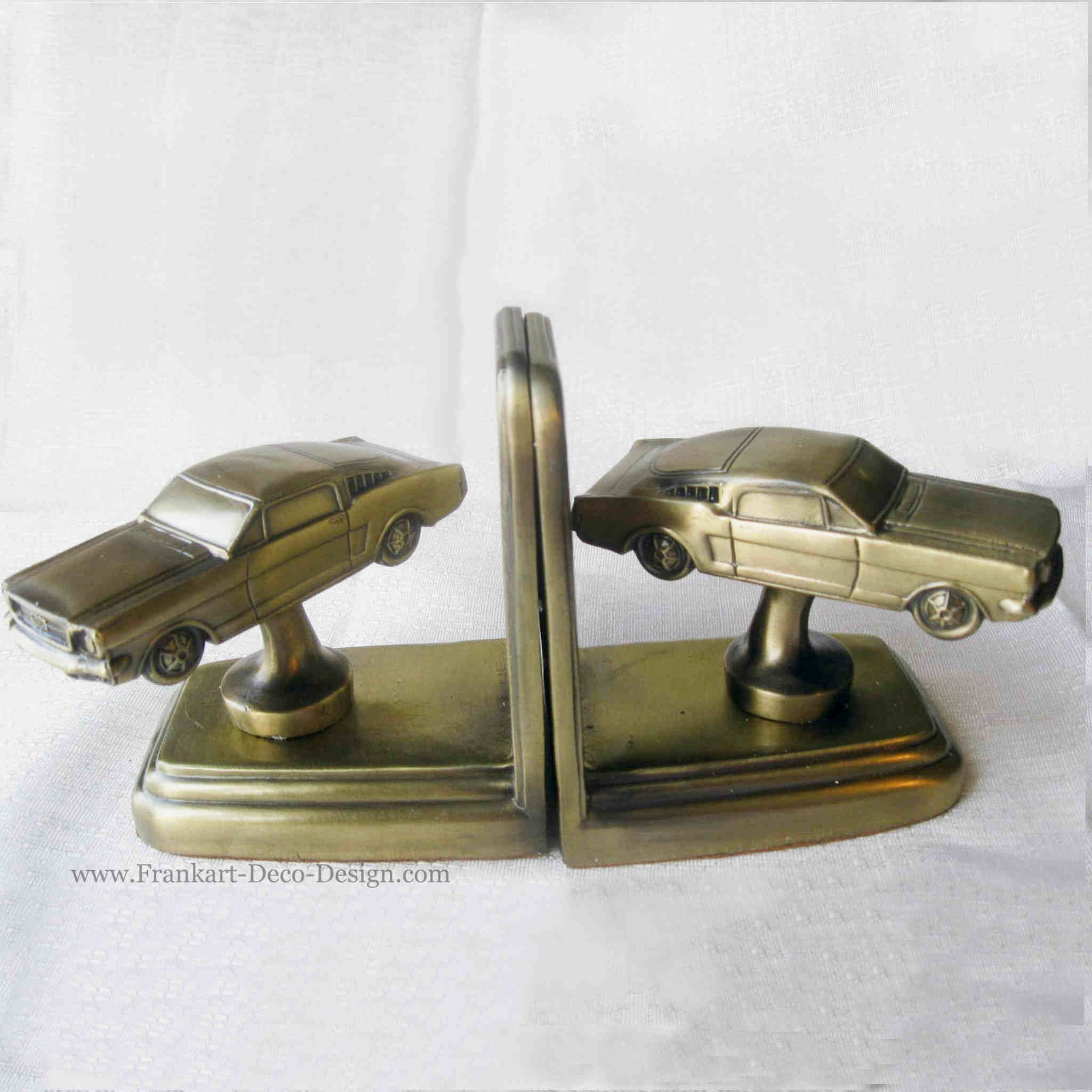 1963 1965 Ford Mustang Bookends brass pair