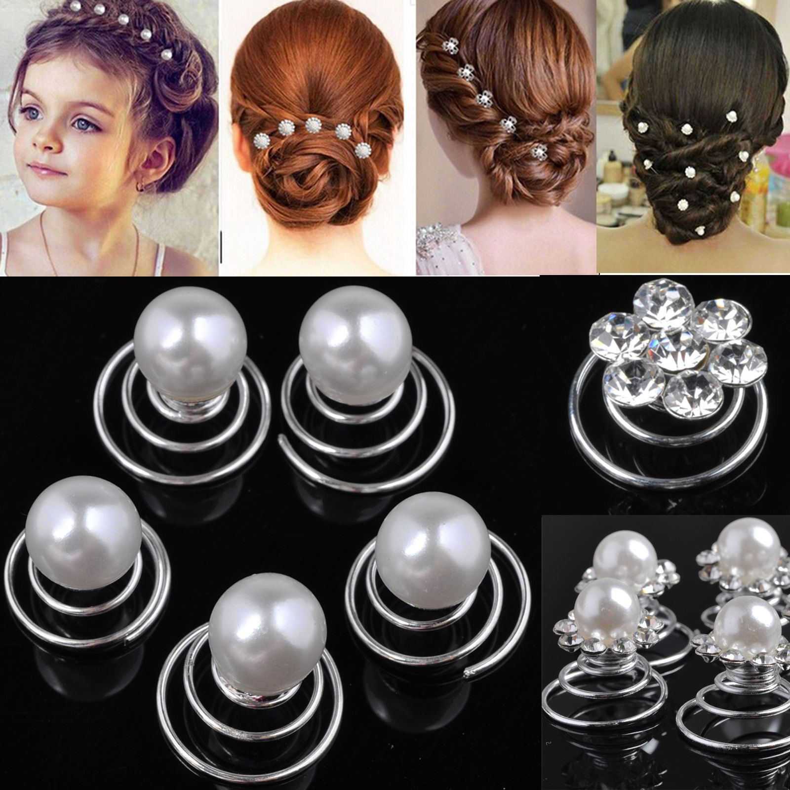5x Bridal Flower Hair Spin  Crystal Rhinestone Pins Twists Coils Hairpin