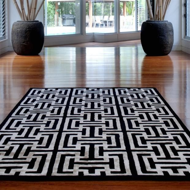 Black White Furnishings Capri Mazuma Rug Wayfair Australia