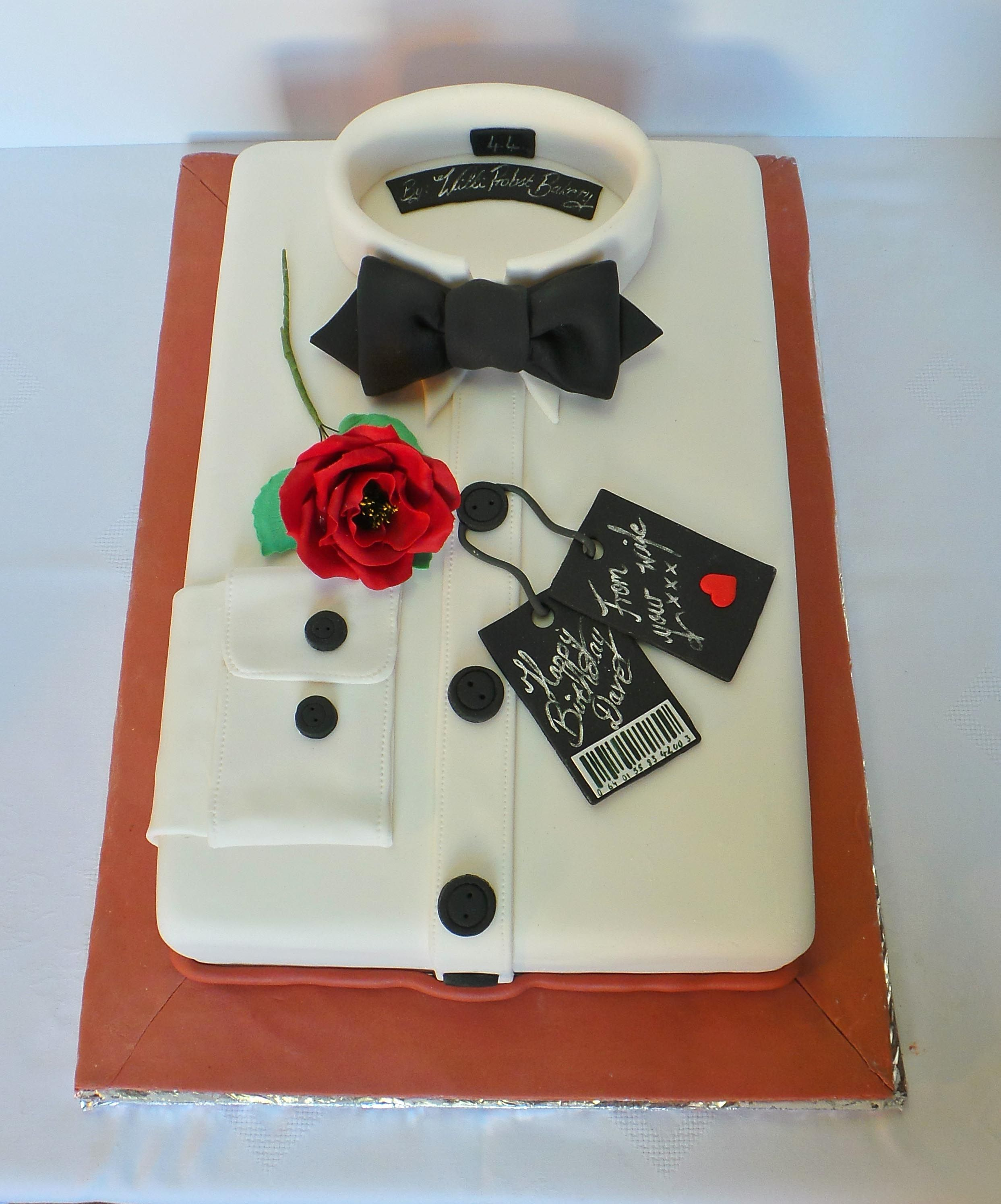 Men's Shirt And Bow Birthday Cake. Design Was Brought In