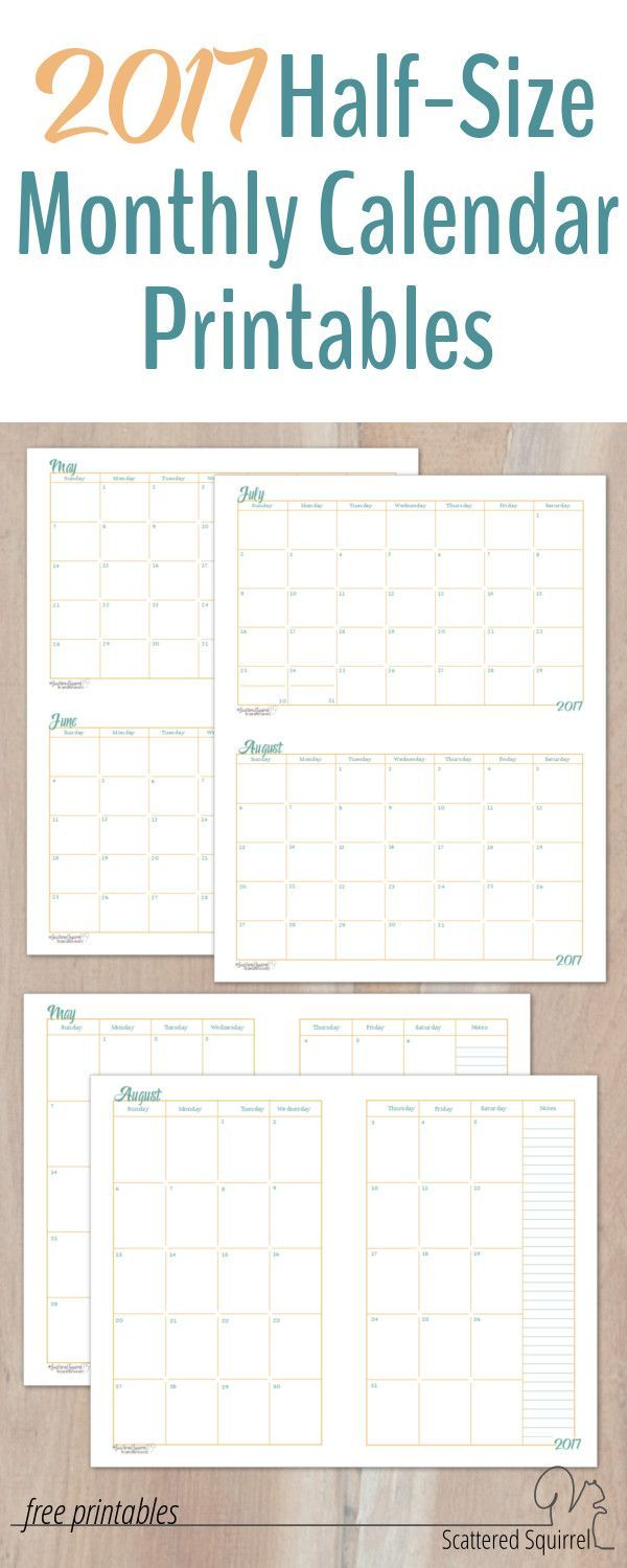 HalfSize Monthly Calendar Printables  A Planners And