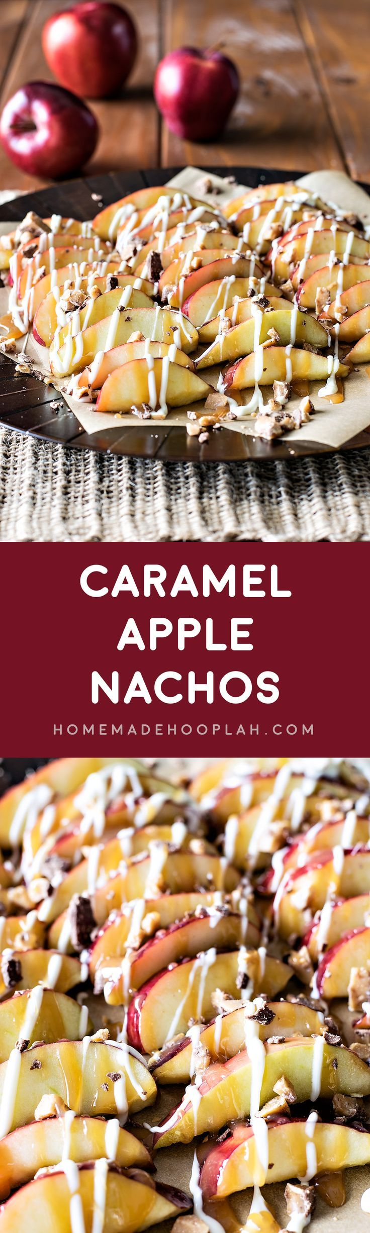 Caramel Apple Nachos! Have your candy apple the easy way - diced up into bite sized pieces then topped with caramel sauce, white chocolate, and crumbled Heath candy bars. | HomemadeHooplah.com