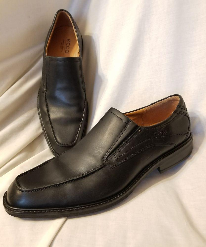 Ecco mens shoes sz 47 EUR 13-13.5 US Windsor apron toe black leather loafer