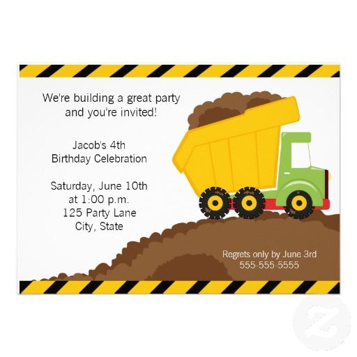 Dump Truck Birthday Invitation – Garbage Truck Birthday Invitations