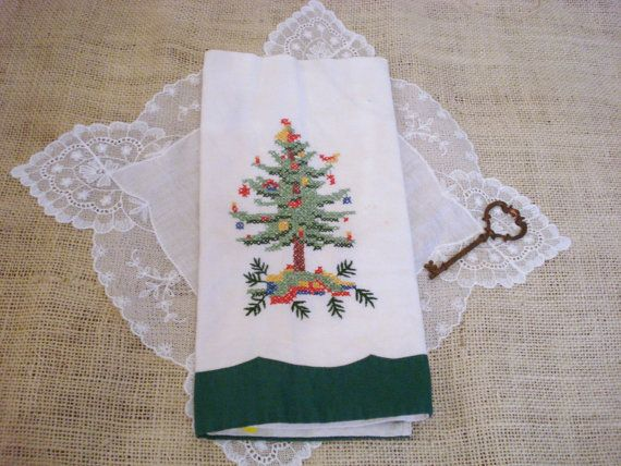 vintage christmas tree tea towel by secretgardenherbs on etsy 7 00 vintagechristmas christmasinjuly