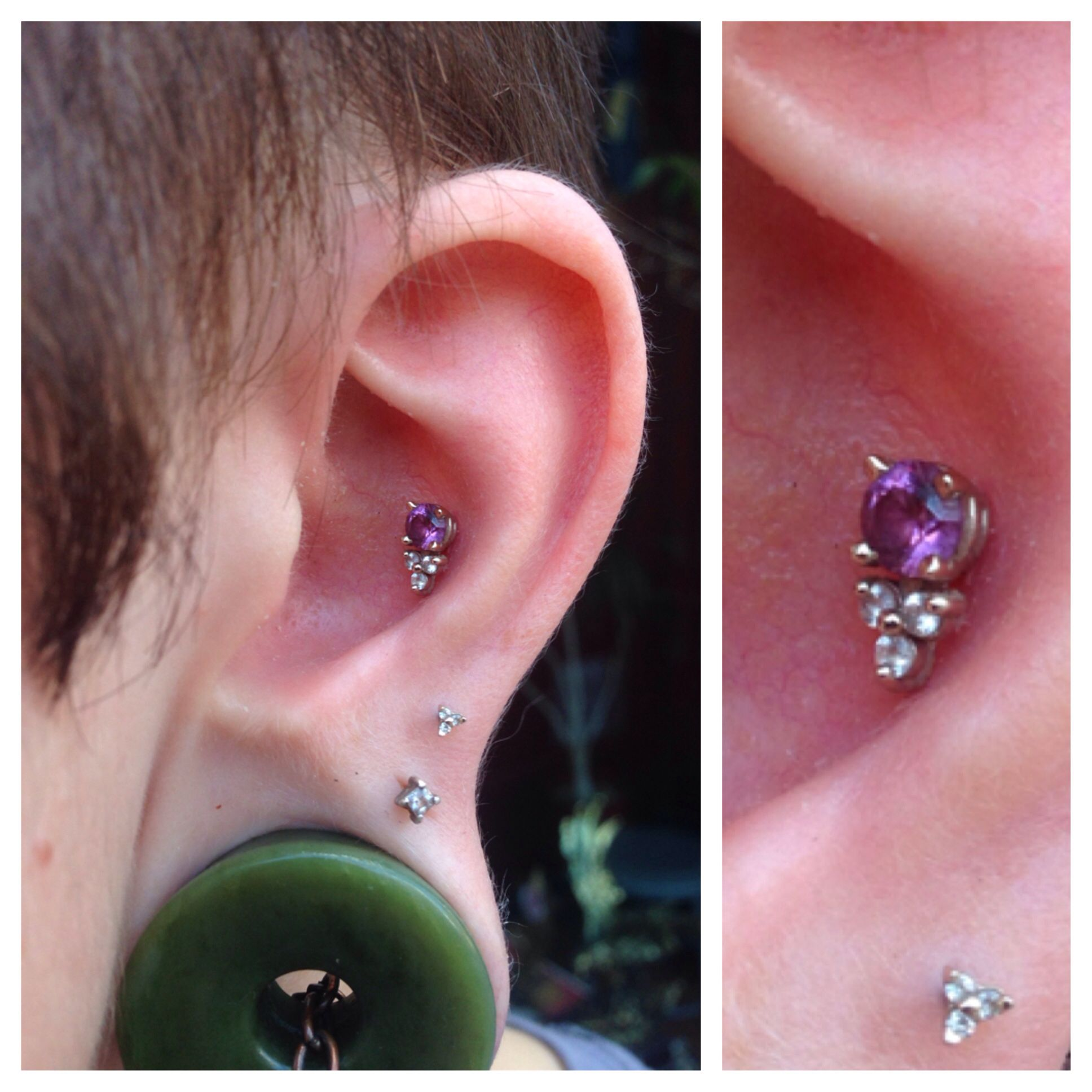 Healed conch piercing with 14k gold jewelry fr LeRoi. Piercing done by me at The Shaman's Den, Binghamton, NY.