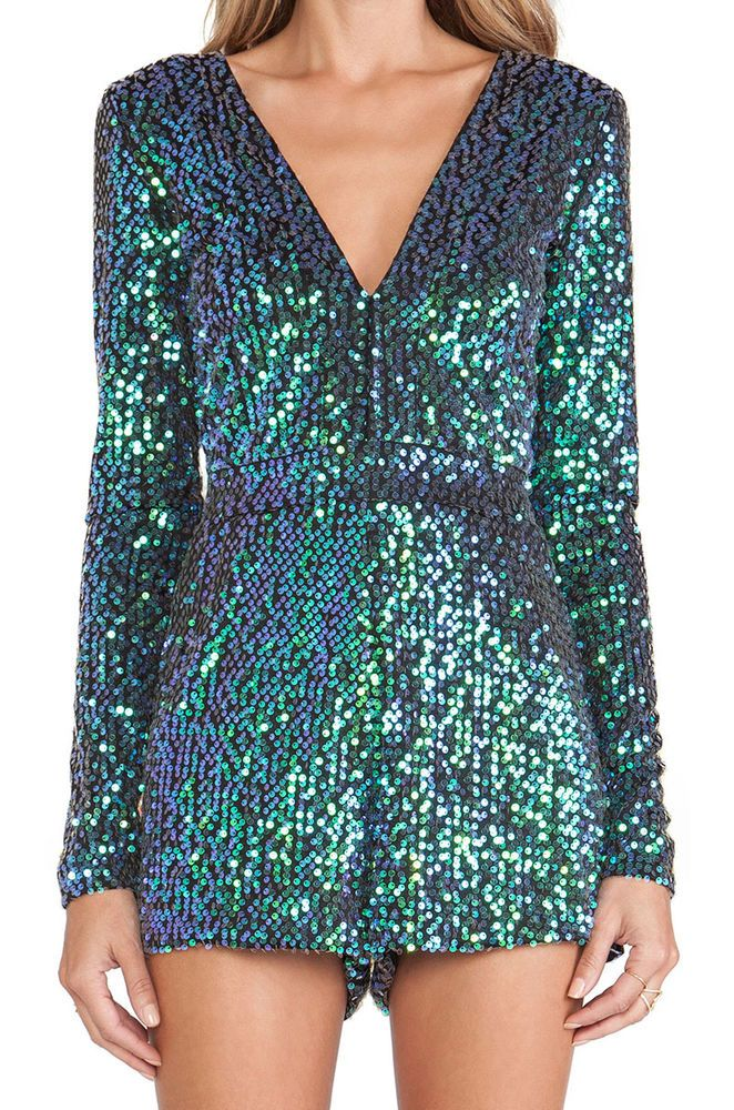 7fa50a7096cc Sequin Emerald Mermaid Green Iridescent Long Sleeve Low V Jumpsuit Romper