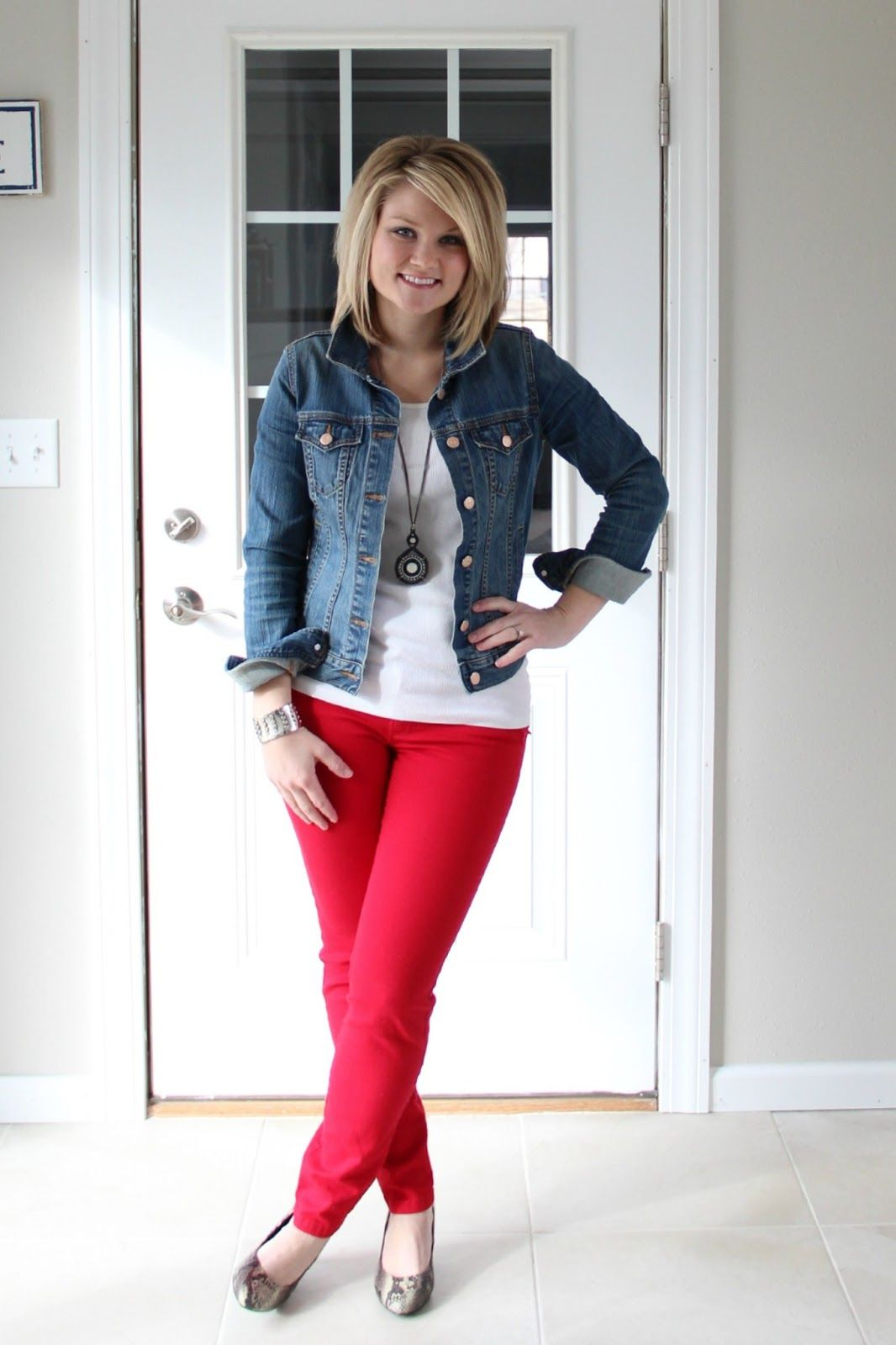 outfits with red denim jackets for women | Jean Jacket: Old Navy ...