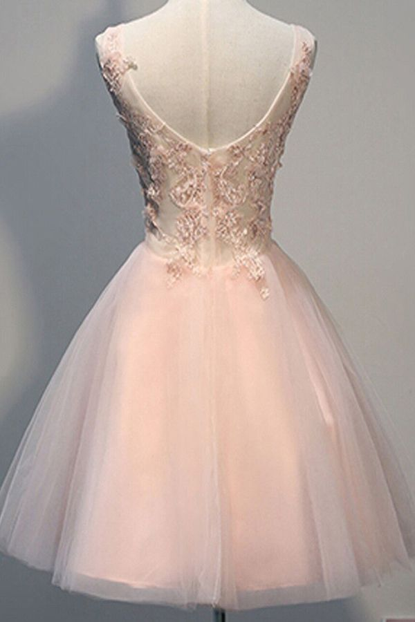 c181e3d0b04d Awesome V-neck Sleeveless Knee-Length Pearl Pink Open Back Homecoming Dress  with Appliques