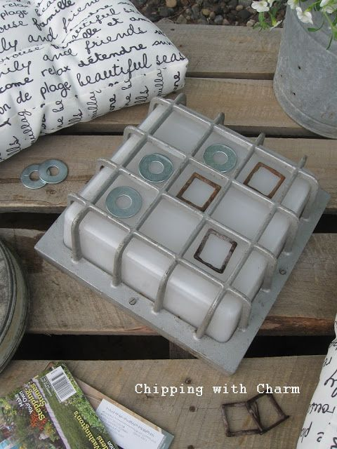 Chipping with Charm junky light fixture tic tac toe