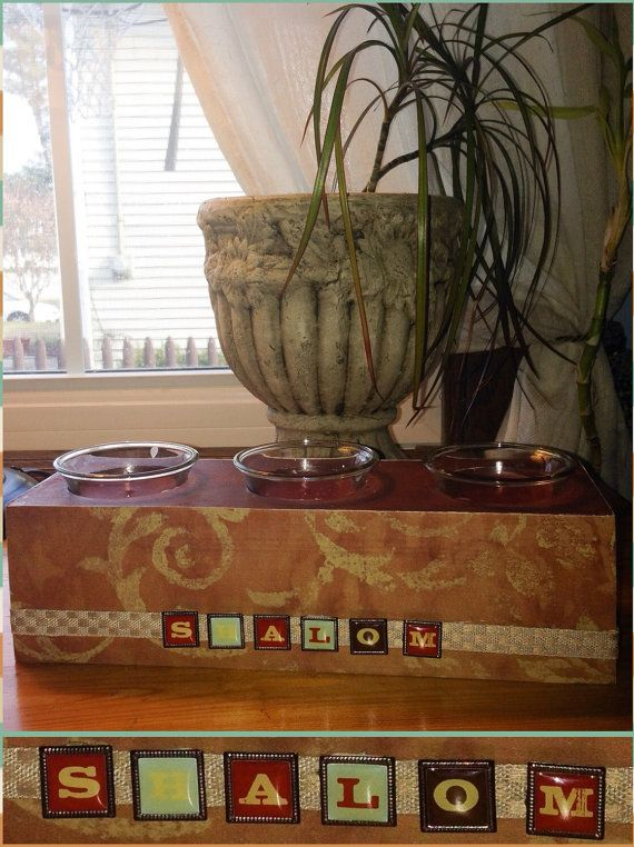 SHALOM Judaica Candle Holder  by PoZiDesigns on Etsy
