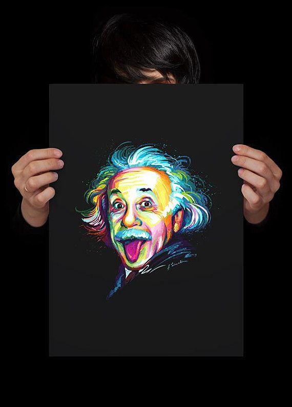 Albert Einstein Colorful Painting Poster, Einstein Portrait Wall Art ...