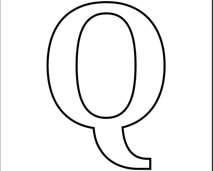 Printable PDF Letter Q Coloring Page