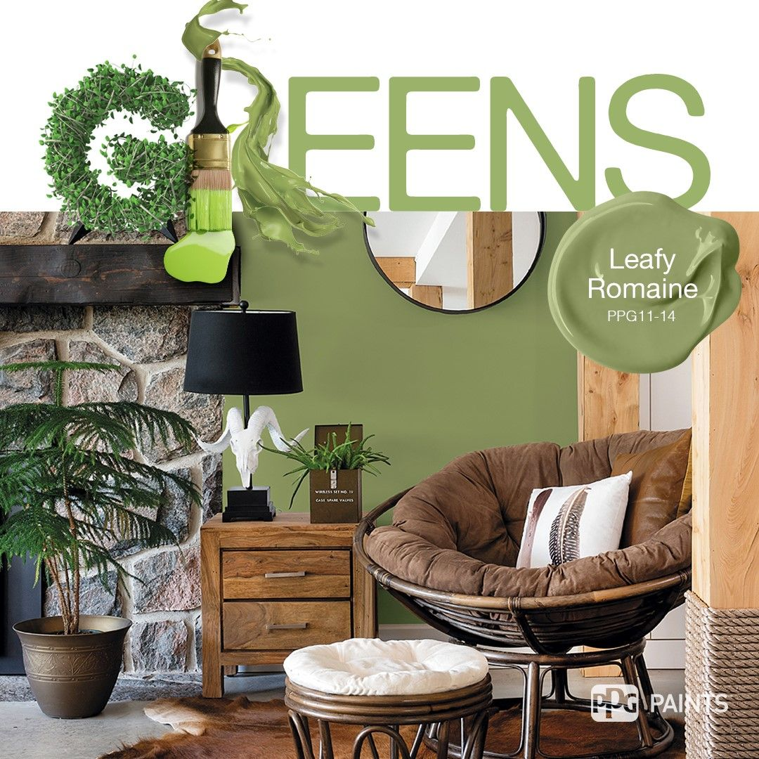 Trending Green Paint Colors | Nature Inspired Green Living Room  Inspiration. Paint Color Leafy