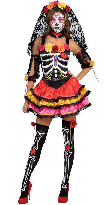 Day Of The Dead Senorita Ladies Fancy Dress Mexican Halloween Adults Costume