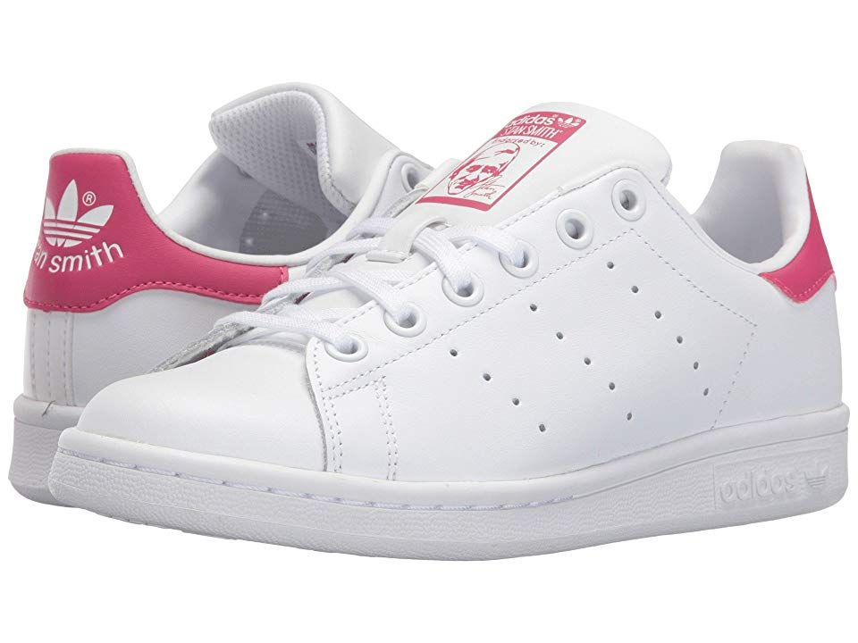 adidas Originals Kids Stan Smith (Big Kid) - Girls Shoes : White/White/Bold Pink : Rock the subtle stripes of the adidas Originals Kids Stan Smith sneakers! Full grain leather upper. Perforated 3-stripe detail. Lace-up front for a snug fit. Signature Stan Smith logo at tongue, and callout at heel. Smooth synthetic lining and a fabric lined footbed for all-day play. OrthoLite sockliner encourages a healthy foot environment by resisting odor-causing bacteria. Full-length EVA midsole for lightweigh
